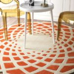 Funky Orange and White Area Rug