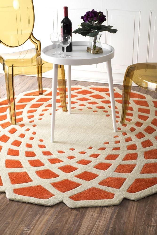 Funky Orange and White Area Rug