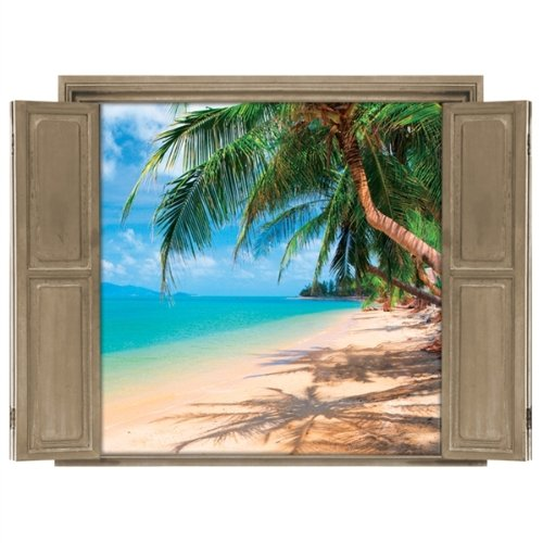 Palm tree beach wall murals for Beach mural painting