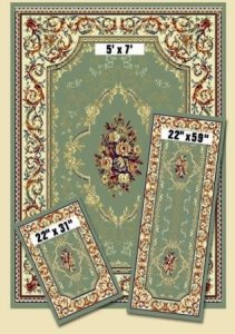 Capri 3 Piece Rug Set with Green In It