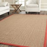 Sea Grass Area Rug with Red Trim