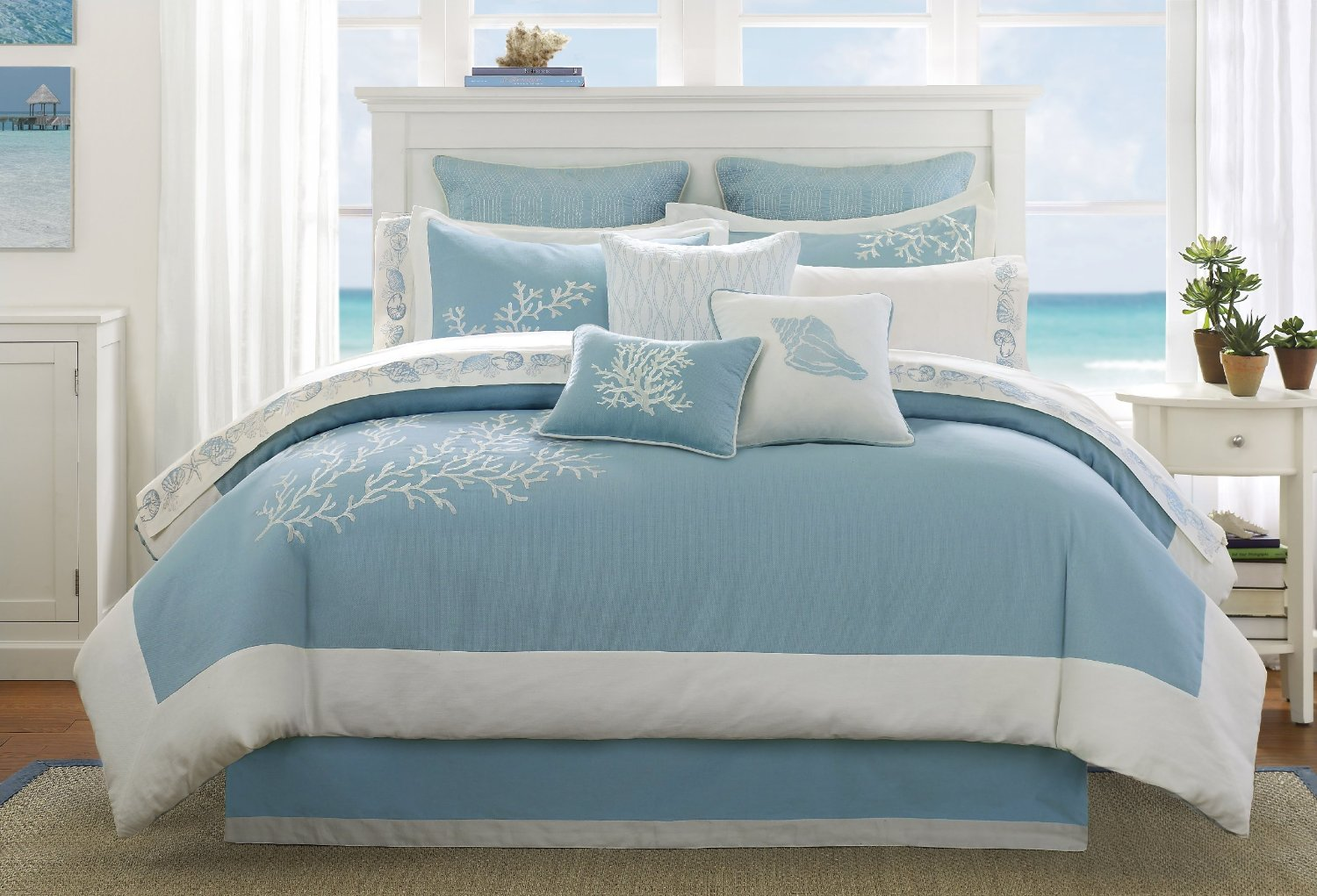 Ideas Beach Themed Bedrooms Aqua And White Beddding Sets Funk This House