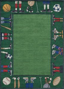 fun kids sports area rug with green in it