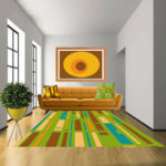 multi colored rug with green base