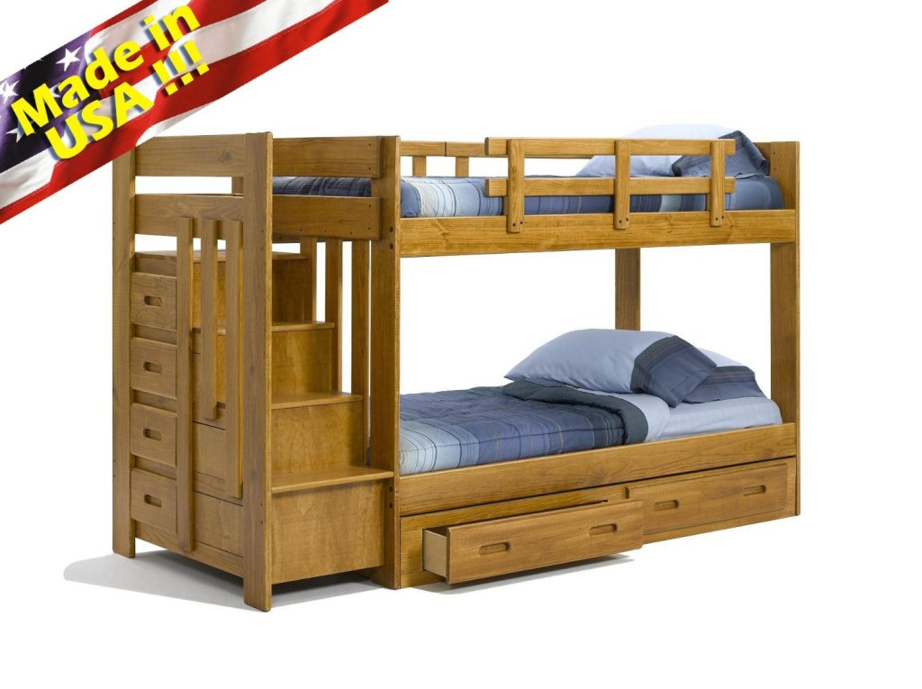 Solid Wood Bunk Beds with Stairs 1024 x 765