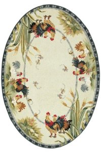 Oval Patterned Rooster Area Rug