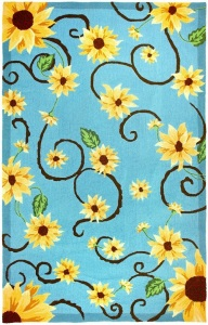 Sunflower Rug on Blue Background Area Rug