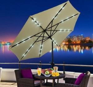 Outdoor Umbrella with Solar Lights