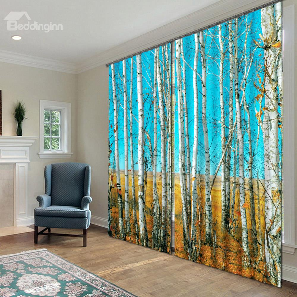 Superb 3D Birch Trees Curtains Ideas