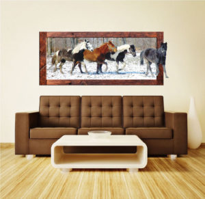 Horses in a field Wall Decal