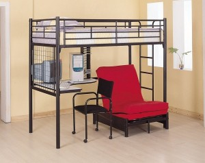Loft Bed with a Desk and Chair