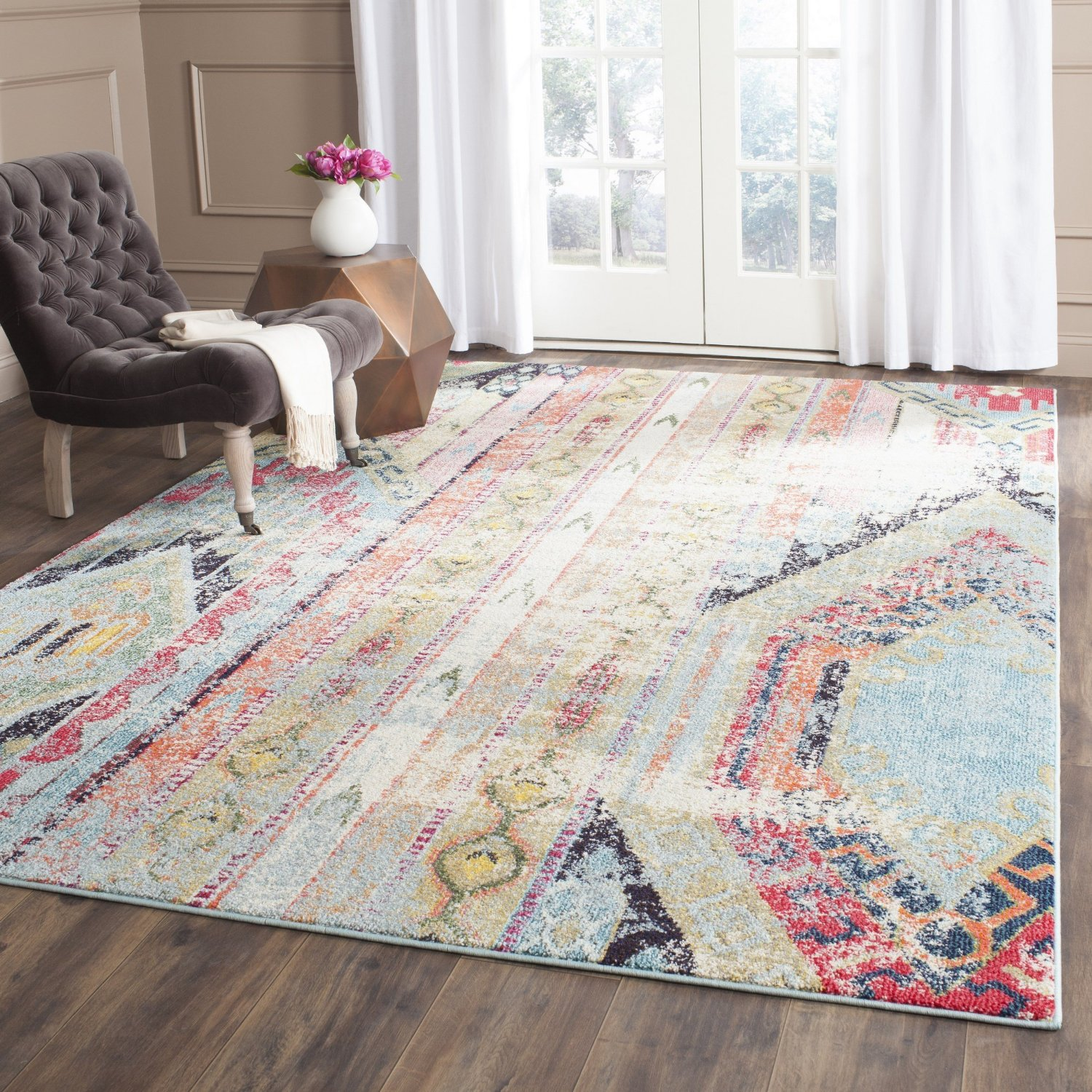 Funky Rainbow Colored Area Rugs: Funky Geometric Cream Based Area Rug With Other Colors