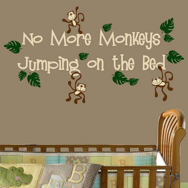 No More Monkeyu0027s Jumping On The Bed Wall Decal U2026 Part 72