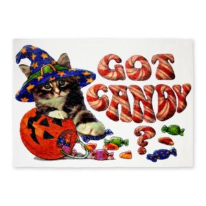 Cute Cat Got Candy Halloween Area Rug
