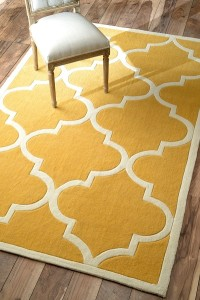 Funky Yellow Area Rug with White Border