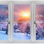 Faux Winter Window Decal Scenes