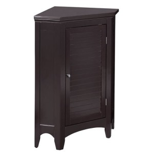 Elegant Home Fashions Sicily Corner Floor Cabinet with 1 Shutter Door, Dark Espresso
