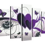 Purple Butterfly 5 Panel Wall Art