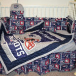 Custom Made New England Patriots Crib Set