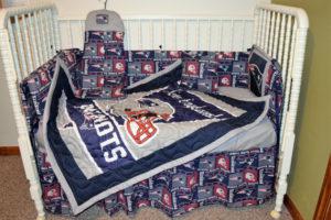 Custom Made New England Patriots Crib Set