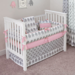 Pink and Grey Elephant Crib Set