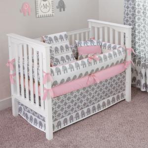 Pink and Grey Elephant Crib Set